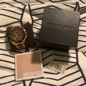 Large face tortoise and gold Michael Kors watch